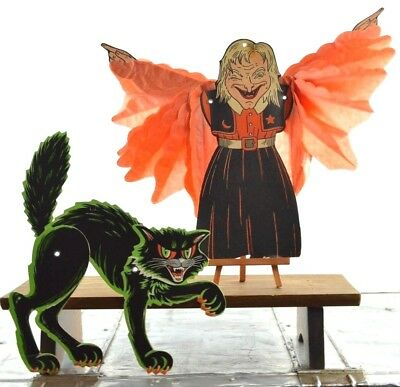 Vintage Halloween Honeycomb Witch Winged with Beistle Die Cut Black Cat 🎃