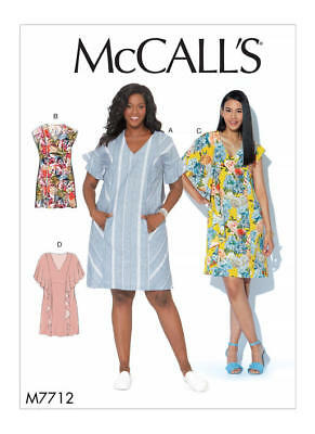 McCall's Sewing Pattern M7712 Misses 4-22 Dresses Easy Pullover Front Back Panel