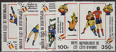 IVORY COAST CTO Scott # 600-604 1982 World Cup (5 Stamps)