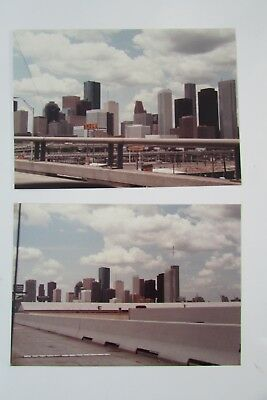 2 Photos in Color *Houston Texas 1975* Downtown from Freeway...