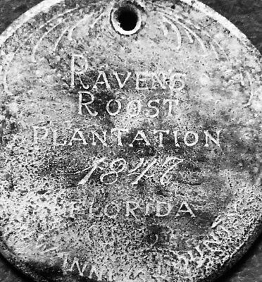 1847 Slave Tag Ravens Roost Plantation Beautiful scroll Font