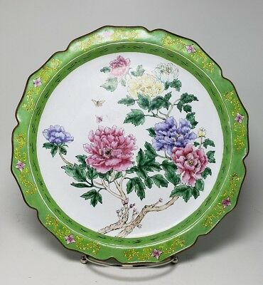 Vintage Republic Chinese Famille Rose Canton Enamel on Copper Plate 25cm Wide