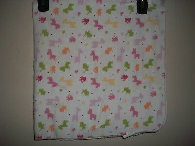 Lot of 2 Girls Receving Blankets Solid Light Pink & Animals  *NICE*