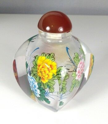 Beautiful hand painted Chinese cased glass hardstone perfume snuff bottle
