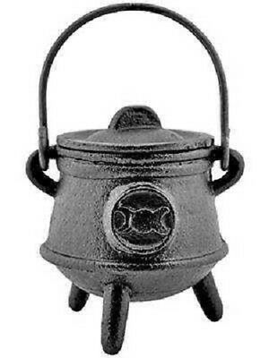 Cast Iron Cauldron with Lid, Triple Moon Symbol, 4 1/2 inch #OMI-CAL08