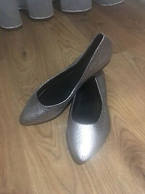 Size 9 New Look Pewter Silver Ballet Flat Shoes