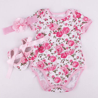 3x Newborn Baby Girl Floral Romper Bodysuit Outfits Headband Shoes Set Gift Hot!