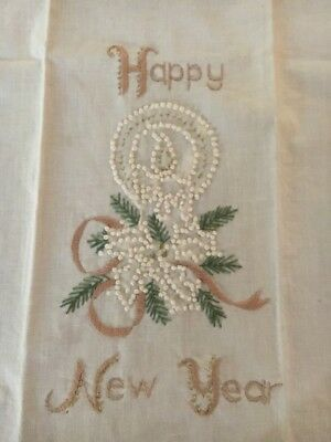 Vintage Embroidered Happy New Year Towel