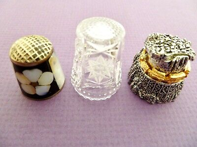 Lot Of 3 Thimbles,star Of David, Mountain Train,& Mother Of Pearl Flower
