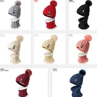 Ladies Mens Beanie Pompoms Hats Scarf Set Knit Warm Thick Winter Beanie HOT