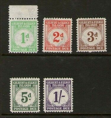 Gilbert & Ellice Islands 1940 postage due SG 1,2,3,5d and 1/- MH