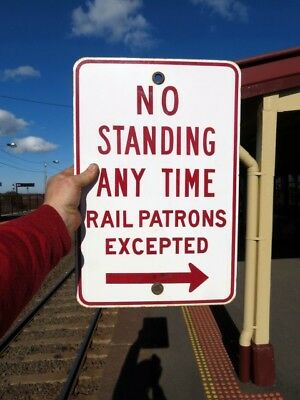 old original NO STANDING ~ RAIL PATRONS EXCEPTED ~ ENAMEL SIGN railway train VR