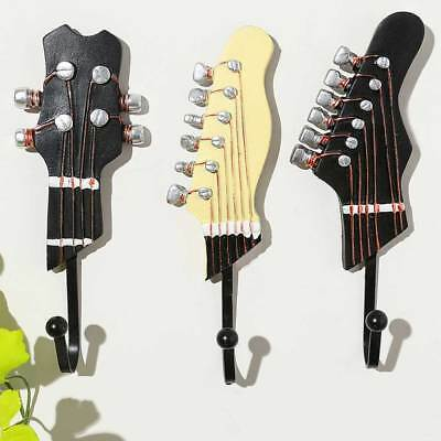 3PCS Guitar Shaped Wall Mounted Coat Cloth Robe Hat Hook Rack Hanger Stand AU