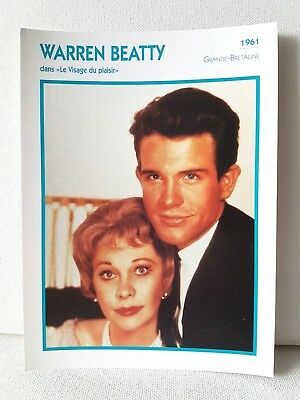 WARREN BEATTY 1961 Actor Movie FRENCH ATLAS PHOTO BIO CARD Roman Spring