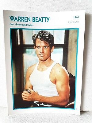 WARREN BEATTY 1967 Actor Movie FRENCH ATLAS PHOTO BIO CARD Bonnie and Clyde