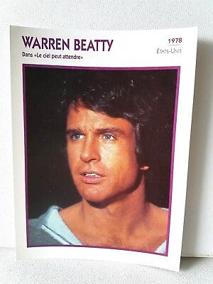 WARREN BEATTY 1978 Actor Movie FRENCH ATLAS PHOTO BIO CARD Heaven Can Wait