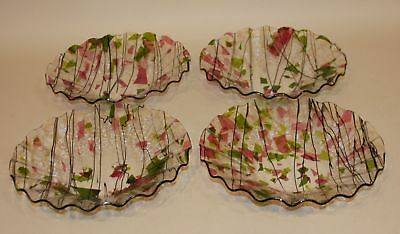 4 Artist Signed 1997 Pink & Green Fused Art Glass Studio Ruffled 10 Inch Bowls