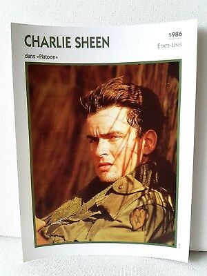 CHARLIE SHEEN 1986 Actor Movie FRENCH ATLAS PHOTO BIO CARD Platoon