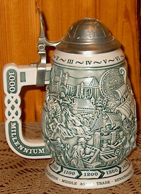 Avon Millennium Collector's Ceramic Stein - Raised Design MIB 1000 Years History