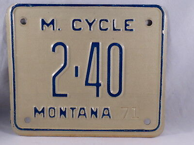 Unmounted 1971,71 Montana, MT Motorcycle License Plate, Low Number,Unused,NOS