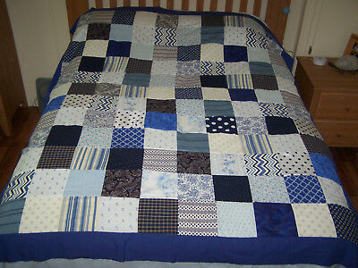 Blue Print Quilt Top Hand Cut Machine Sewn Full/Queen Size
