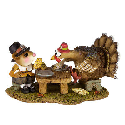 TURKEY FOR DINNER! by Wee Forest Folk, WFF# M-592, Thanksgiving Mouse & Turkey
