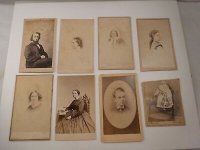 Lot 7 Vintage Cabinet Family Relatives Cards Photos Late 1800's A5