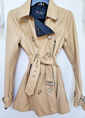 Guess XS Trench Style Double Breasted Jacket Beige Belted Faux Leather Pockets