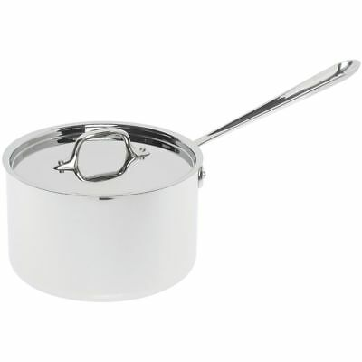 """All Clad 4 qt 8"""" Stainless Steel Sauce Pan with Lid - 16 3/5 L x 8 1/5 W x 8"""