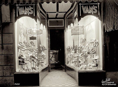 1940s era photo Negative SHOE Store Window NEON Sign WOMENS Mens by CURTISS