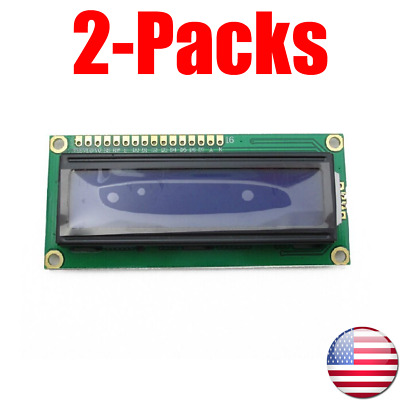 (2-Pack)1602 LCD Display Module 16x2 Character LCM Blue Blacklight DC 5V HD44780