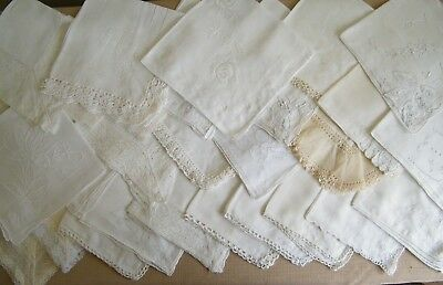 Lot of 31 Vintage Embroidered & Applique Hankies Handkerchiefs White & Off White