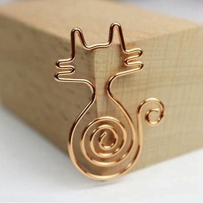 Rose Gold 8pcs/box Kawaii Cat Paper Clips Bookmark Planner Tools Scrapbooking I2
