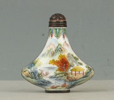 Chinese Exquisite Handmade landscape pattern Cloisonne snuff bottle