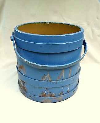 ANTIQUE PRIMITIVE WOODEN Firkin/Sugar Bucket~Old Blue over Mustard Color  Paint