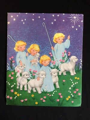 Vintage Collectable Greeting Card - Christmas - Girls with Lambs -  c1960