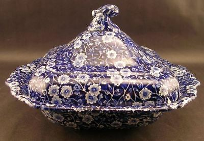 Crownford China Co Staffordshire England Blue Calico Square Covered Vegetable