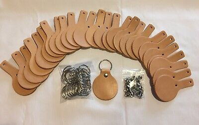 Leather Round Key Fob Kit 25 Pack