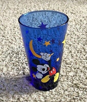 Disney Mickey Mouse Blue Glass Tumbler Cup Stars Moon - RARE