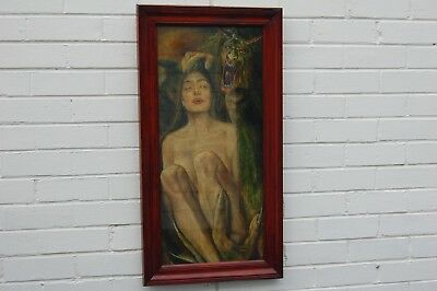 """Original vintage oil painting on canvas board under glass """"Dante's Inferno""""."""