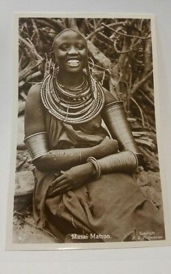 Masai Matron Woman NUDE EAST AFRICA, PHOTO POSTCARD  c. -1940's  F & P ANDERSON