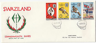 W8076 Swaziland first day cover 1970 commonwealth games, 4 stamps.