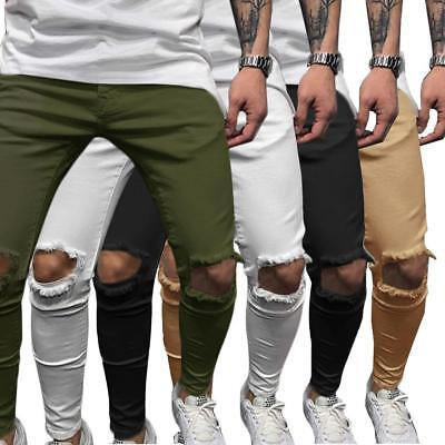 Men's Skinny Slim Fit Jeans Ripped Denim Punk Knee Destroyed Hole Pants Trousers