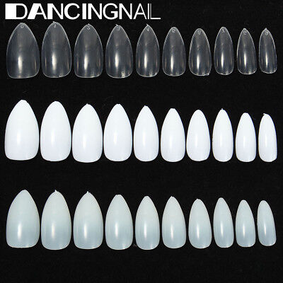 600 Pcs Almond Oval Stiletto Pointy Full False Nail Tips Claw Acrylic Gel Polish