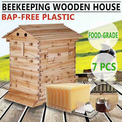 BeeHive Wooden Brood Box House + 7Pcs Auto Flow Honey Hive Frames Beekeeping USA