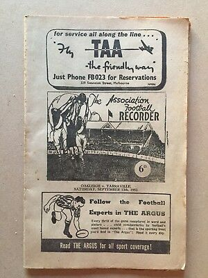 VFA 1952 First Semi Final Record Oakleigh V Yarraville