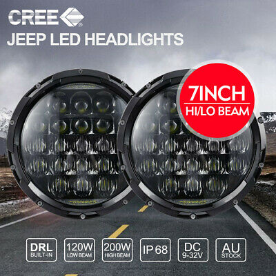7 inch CREE LED Headlights 200W High Low Beam For Jeep Wrangler TJ JK 97-17
