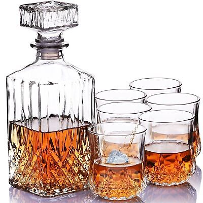 7 PC Crystal Glass Whisky Decanter With Tumblers Bar Gift Wine Presentation