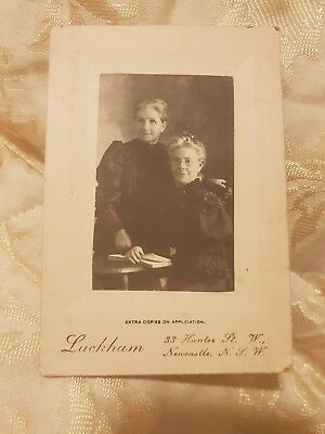 Small Antique Photo - Two Elderly Women in Black Dresses