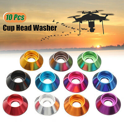 10Pcs M3 Cup Head Hex Screw Gasket Washer Nuts Aluminum Alloy Multicolor for FPV